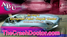 Jaguar 1967 XKE European collision repair and paint video from www.thecrashdoctor.com