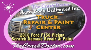 2010 Ford F150 Platinum pickup truck auto damage repair and paint video photo from www.thecrashdoctor.com