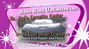 2010 Grand Sport Vette fiberglass repair and paint from www.thecrashdoctor.com