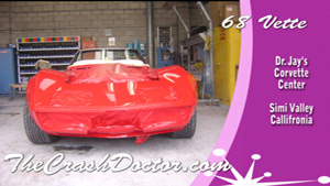 1968 Corvette collision fiberglass repair and paint job video photo from www.thecrashdoctor.com