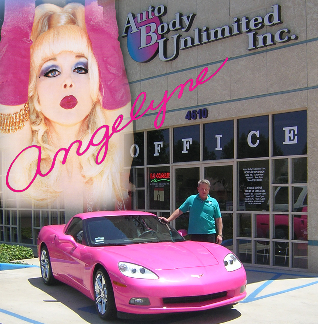 Angelyne and Dr. Jay from TheCrashDoctor.com with her new Pink 2008 Corvette